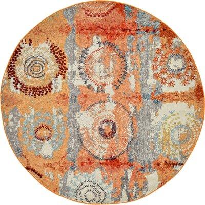 Roshan Orange Area Rug Rug Size: Round 6
