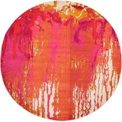 Colella Pink Area Rug Rug Size: Round 6
