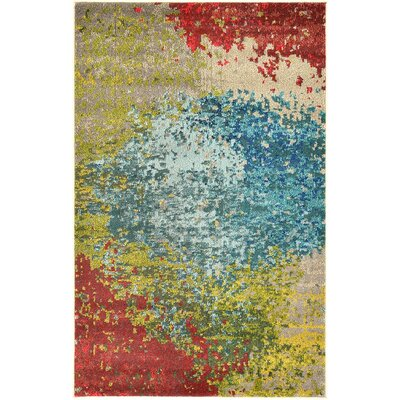 Sanchali Blue/Red Area Rug Rug Size: 8 x 11