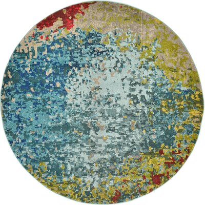 Sanchali Blue/Red Area Rug Rug Size: Round 8