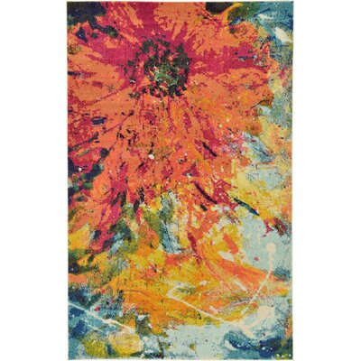 Roshan Orange Area Rug Rug Size: 33 x 53