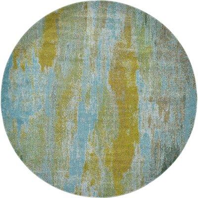 Roshan Turquoise Area Rug Rug Size: Round 8
