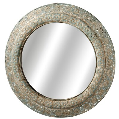 Distressed Beige Stamped Filigree Wall Mirror