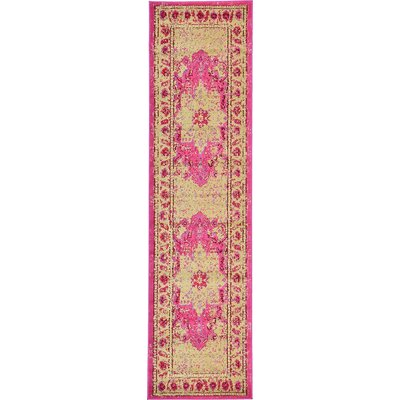 Aquarius Pink/Beige Area Rug Rug Size: Runner 27 x 10