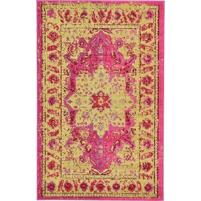 Aquarius Pink/Beige Area Rug Rug Size: Rectangle 33 x 53