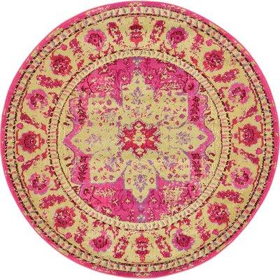 Aquarius Pink/Beige Area Rug Rug Size: Round 6'