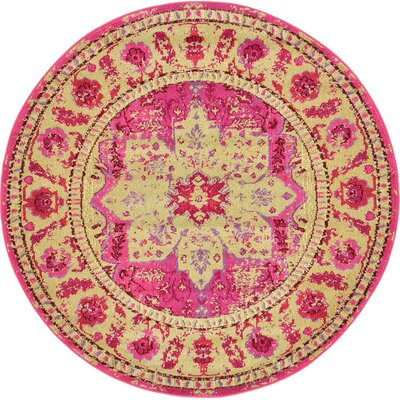 Killington Pink/Beige Area Rug Rug Size: Round 6