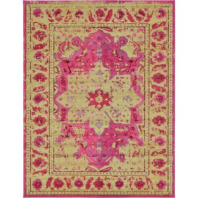 Aquarius Pink/Beige Area Rug Rug Size: 10'6