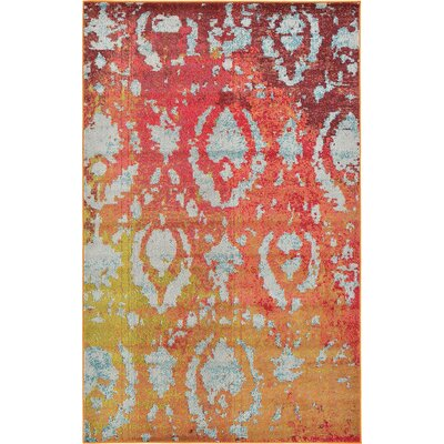 Aquarius Rust Red Area Rug Rug Size: 106 x 165