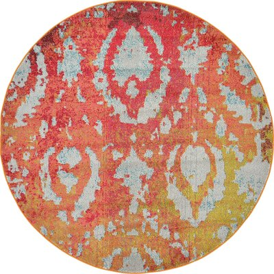 Aquarius Rust Red Area Rug Rug Size: Round 8'