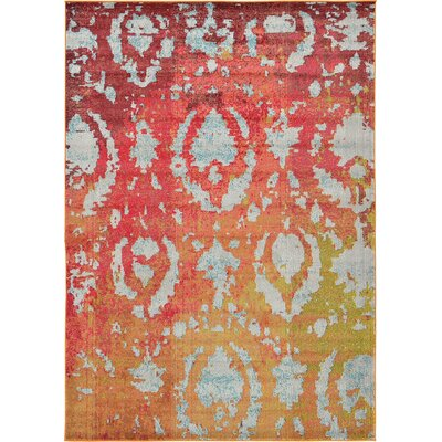 Aquarius Rust Red Area Rug Rug Size: 7' x 10'
