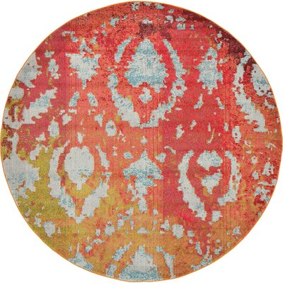 Aquarius Rust Red Area Rug Rug Size: Round 6