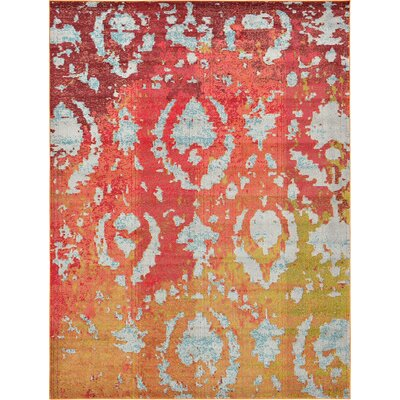 Aquarius Rust Red Area Rug Rug Size: 5 x 8