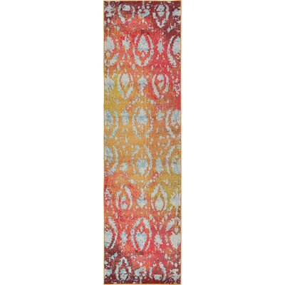 Aquarius Rust Red Area Rug Rug Size: Runner 27 x 10