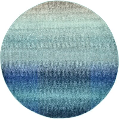 Applecroft Blue Fade Area Rug Rug Size: Round 6