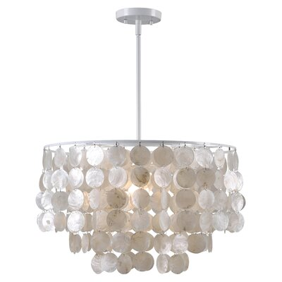 Delmon 1-Light Drum Pendant Base Finish: White