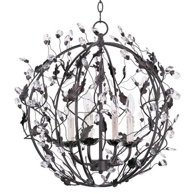 Kaiya 4-Light Crystal Globe Pendant Finish: Oil Rubbed Bronze