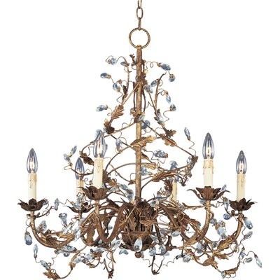 Kaiya 6-Light Candle-Style Chandelier Finish: Etruscan Gold
