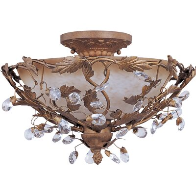 Kaiya 3-Light Semi-Flush Mount Finish: Etruscan Gold