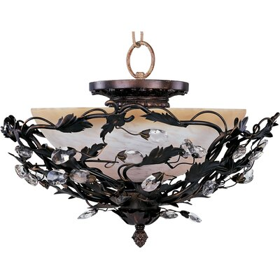 Kaiya 3-Light Semi-Flush Mount Finish: Oil Rubbed Bronze
