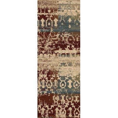 Argentine Olive/ Burgundy Area Rug Rug Size: Runner 27 x 73