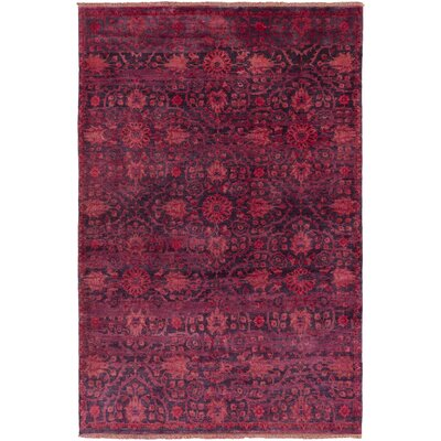 Halima Hand-Knotted Burgundy Area Rug Rug size: Rectangle 36 x 56