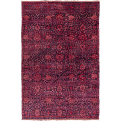 Halima Hand-Knotted Burgundy Area Rug Rug size: 36 x 56