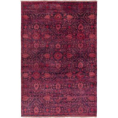 Halima Hand-Knotted Burgundy Area Rug Rug size: 56 x 86