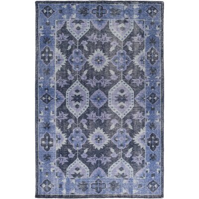 Drachten Hand-Knotted Navy/Dark Blue Area Rug Rug size: Rectangle 36 x 56
