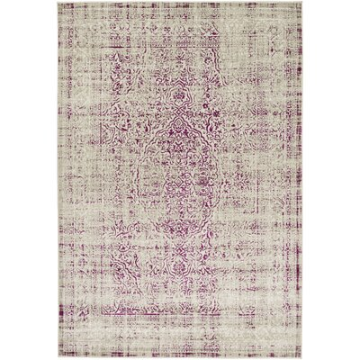 Anil Light Gray/Purple Area Rug Rug size: 76 x 106