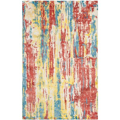 Armagh Hand-Knotted Red/Blue Area Rug Rug Size: 6 x 9