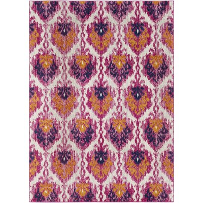 Hillsby Saffron/Pink Area Rug Rug Size: Rectangle 53 x 73