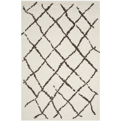 Zettie Creme/Brown Area Rug Rug Size: Rectangle 3 x 5