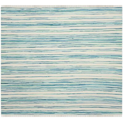 Saleem Hand-Woven Ivory/Green Area Rug Rug Size: Square 6