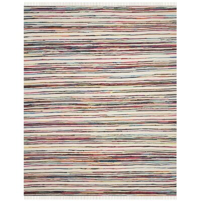 Sanchali Hand-Woven Ivory/Red Area Rug Rug Size: Rectangle 26 x 4