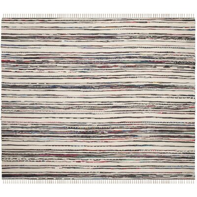 Sanchaya Hand-Woven Ivory/Charcoal Area Rug Rug Size: Square 6