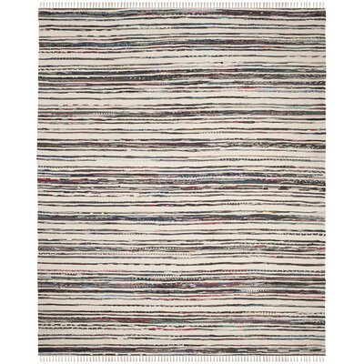 Sanchaya Hand-Woven Ivory/Charcoal Area Rug Rug Size: Rectangle 26 x 4