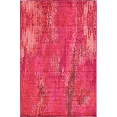 Fujii Pink Area Rug Rug Size: Round 6
