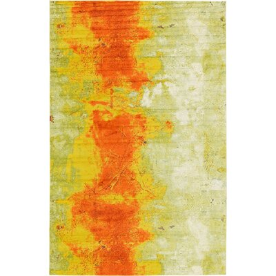Fujii Yellow/Orange Area Rug Rug Size: 33 x 53