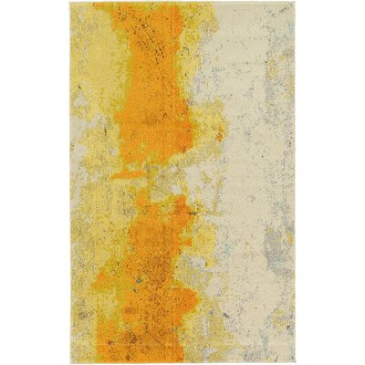 Fujii Yellow Area Rug Rug Size: 106 x 165