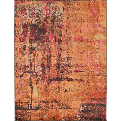 Ned Orange Tibetan Area Rug Rug Size: 9 x 12
