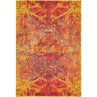 Fujii Red Area Rug Rug Size: Rectangle 9 x 12