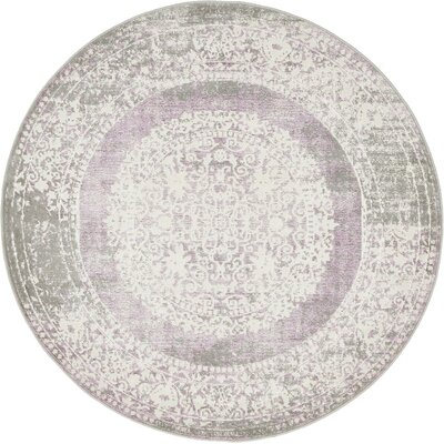 Wilton Purple Area Rug Rug Size: Round 4'