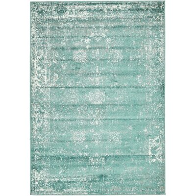 Brandt Turquoise / White Area Rug Rug Size: 8 x 10