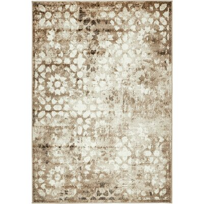 Brandt Brown/Cream Area Rug Rug Size: Rectangle 4 x 6