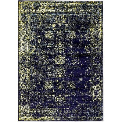 Brandt Navy Blue/Yellow Area Rug Rug Size: Rectangle 5 x 8