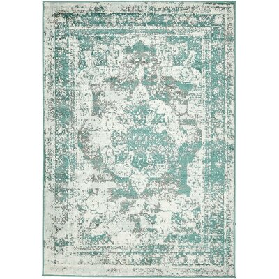 Ford Turquoise/Gray/White Area Rug Rug Size: 9 x 12