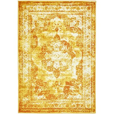 Brandt Yellow Area Rug Rug Size: Runner 2 x 13