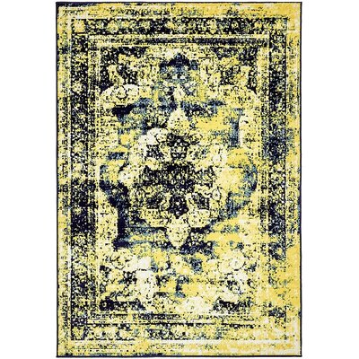 Brandt Navy Blue/ Yellow Area Rug Rug Size: 8 x 10