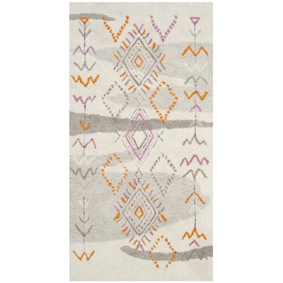 Samaniego Hand-Tufted Gray/Orange Area Rug Rug Size: Square 6